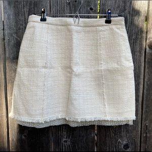 Zara Woman Tweed Mesh Dot Trim Mini Skirt Cream